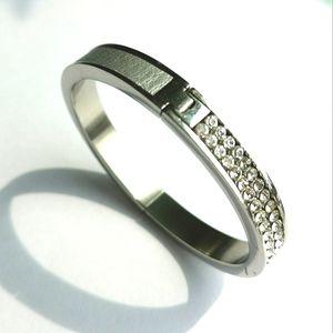 Swarovski Swan Brand Bangle bracelet half crystal half smooth silver brick clasp